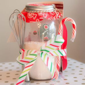 Snowman Pancake Mix Mason Jar Gift Set with Pancake Mold and Whisk with striped bow