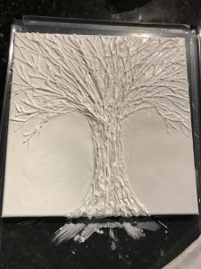 gesso, hot glue, art painting